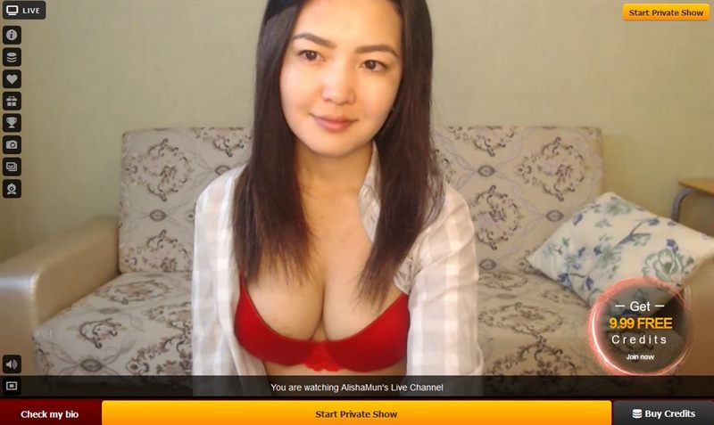 Amateur Asian cam girl with sexy red bra models on LiveJasmin.com