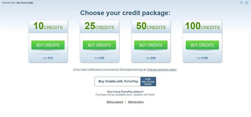 ImLive simplifies the credit purchasing system with one to one exchange