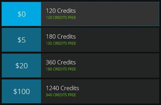 Flirt4Free's credit packages and first purchase bonus