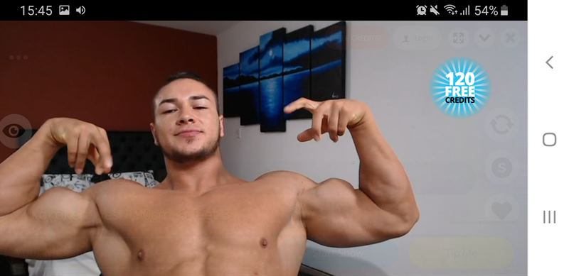Muscled stud flexing on Flirt4Free