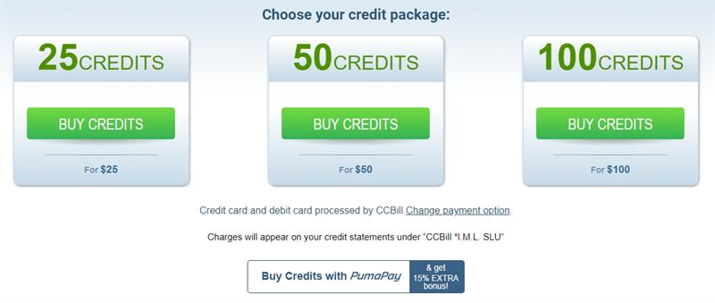 ImLive's credit packages
