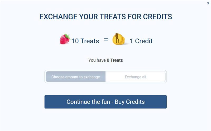 ImLive allows you to turn your free Treats into paid Credits