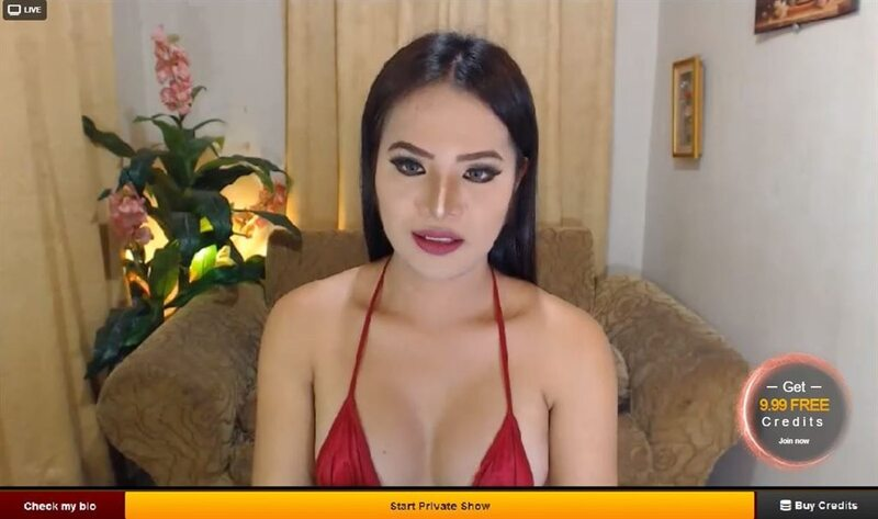 LiveJasmin hot shemale in red lingerie