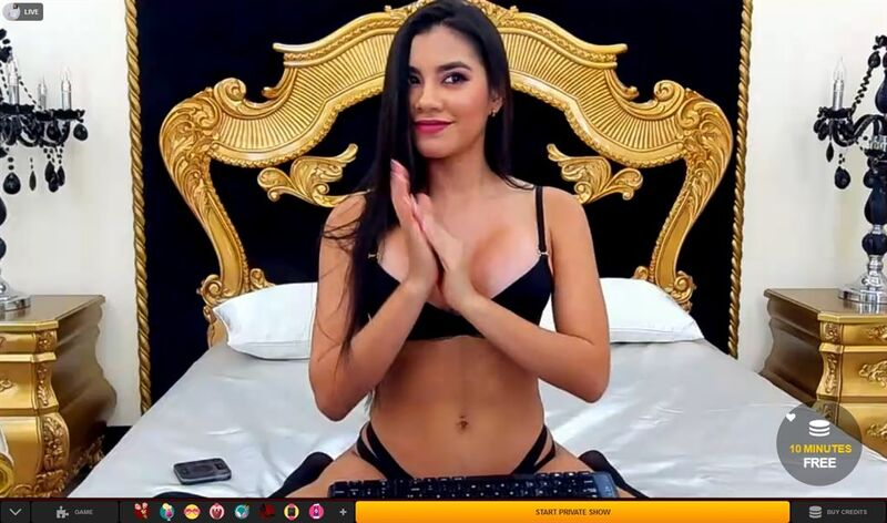 Gorgeous Latina in black lingerie on LiveJasmin