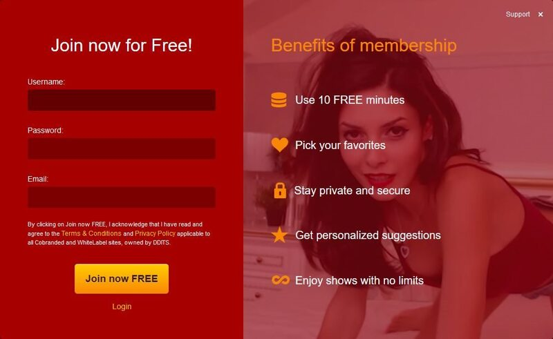 LiveJasmin's registration page