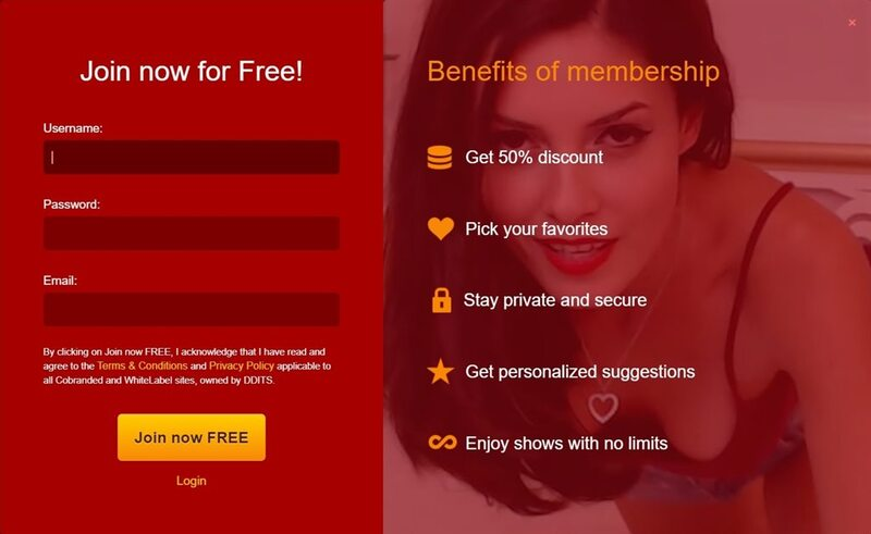 LiveJasmin's signup page