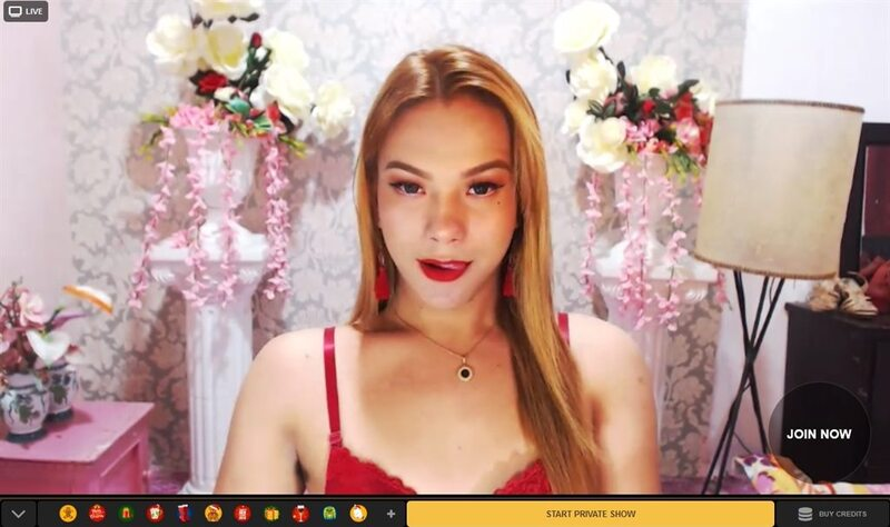Gorgeous shemale cam girl licking her lips on MyTrannyCams