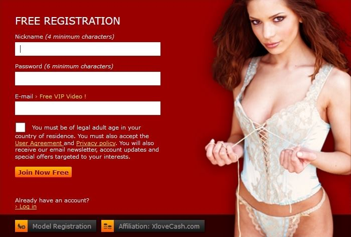 xLoveCam's registration page