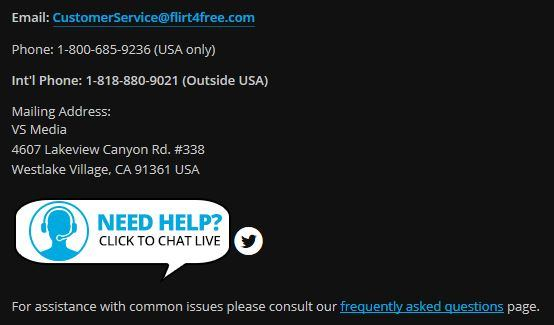 Flirt4Free's customer support page