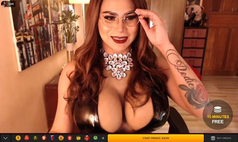 Cute tranny with glasses, braces and big tits on LiveJasmin