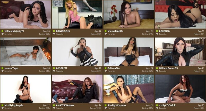 Chat rooms grid on MyTrannyCams